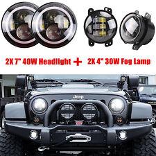 7inch LED Halo Headlights & 30W LED Fog Light DRL Kit For Jeep Wrangler JK LJ TJ