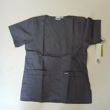 Landau SCRUBS Short Sleeve Solid Gray Shirt Front Double Pockets  Size: S *NWT