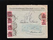 Germany Inflation Era Cologne Köln Terrain Gesellschaft 1923 Overprints Cover 2x