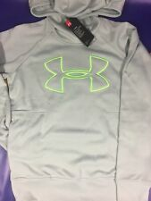Women's XS Under Armour Hoodie Green Cream Sweater ColdGear