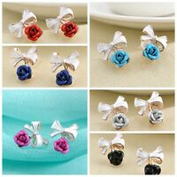 Jewelry 1 Pair Charm 6 Colors Bow Rose Stud Earrings Ear for Women Z