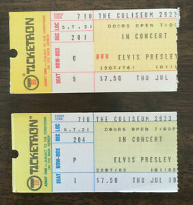 TWO - Authentic 1975 Elvis Presley concert ticket stubs w/ FULL NAME and COA