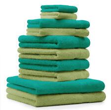 Betz Lot de 10 serviettes Premium vert émeraude et vert pomme 100% coton