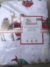 Pottery Barn Kids Organic Flannel Heritage Santa Full Sheet Set NEW Christmas