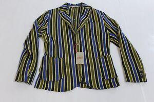 BoB Company Men's Giacca Cotton Piqué Blazer Jacket HD3 Blue Stripes Size XL NWT
