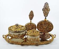 Vintage Dresser Vanity Tray Set Gilt Brass Ormolu 5 pce w/ Powder Jar & Perfumes