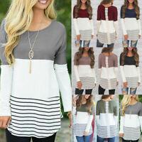 Tops Women Long Shirt Casual Pullover Blouse Sweatshirt Striped Sleeve T