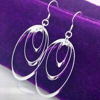 Fashion Women 925 Sterling Silver Plated Hoop Dangle Earring Studs Jewelry Hot
