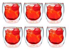 SALE!!! 6X DOUBLE WALL ESPRESSO COFFEE TEA GLASSES HAND MADE