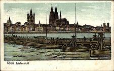 Köln am Rhein Nordrhein Westfalen Color AK 1906 Brücke Totalansicht mit Dom