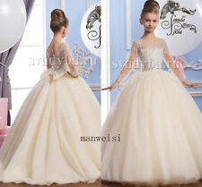 Beads Wedding Party Formal Flower Girl Dress Baby Pageant Dance BallGown Crystal