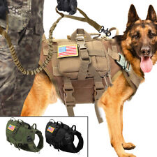 Military Tactical K9 Dog Harness With Bungee Leash MOLLE Training Adjustable M/L