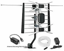 Digital Amplified Outdoor/Indoor Attic HDTV Antenna w/ Pole, 150 Mile Range, NEW