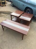Mid Century Modern Lane Monte Carlo 3 Piece Set Cocktail and 2 End Tables