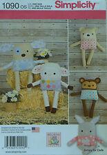 "Simplicity 1090 Sew PATTERN for 15"" STUFFED ANIMALS Dog Bunny Monkey Bear Lamb"