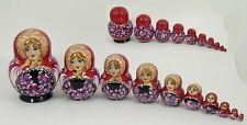 10 pcs Russian Nesting Doll - Matryoshka RED/BLACK #3592