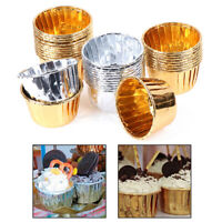 50pcs Golden Muffin Cupcake Paper Cup Cupcake Liner Baking Cup Tray C_FR
