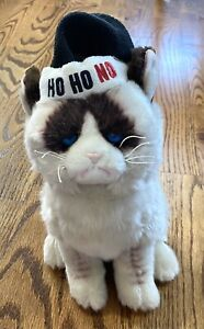 "Gund grumpy cat 11"" christmas hat plush Toy ho ho no santa humbug Stuffed Animal"