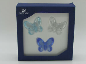 SWAROVSKI BUTTERFLIES SET OF 3 BLUE, LIGHT BLUE, CRYSTAL. No 955429