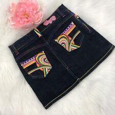 Coogi Denim Mini Skirt Girls Size 10  Embroidery Rainbow Hearts