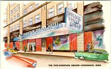 CINCINNATI, OH Ohio   FOUNTAIN SQUARE HOTEL   c1950s  Cars  Postcard