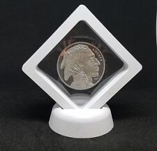 Display Frame Floating Stand Case - Medal Button Bar Coin Jewelry Rock WHITE