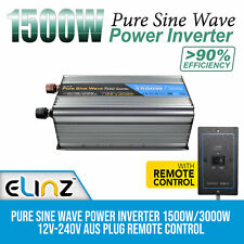 Pure Sine Wave Power Inverter 1500W/3000W 12V-240V AUS Plug Remote Control