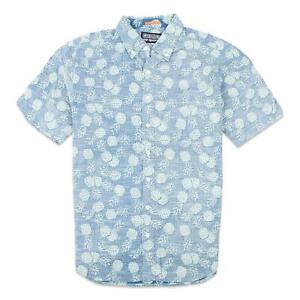 Reyn Spooner Mens Hala Kahikl Li'l Button Up S/S Shirt Azure M New