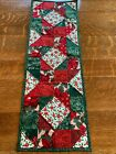 Christmas Red Green Poinsettias Quilted Table Runner Handmade