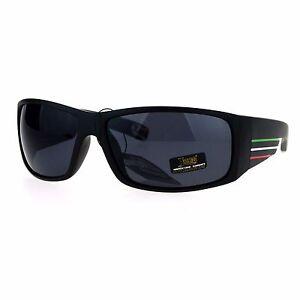 Locs Sunglasses Mens Thick Rectangular USA Mexico Rasta Colors Black UV 400