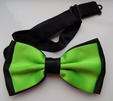 BLACK / BRIGHT GREEN 2 LAYER SATIN MEN'S BOW TIE WEDDING OFFICE,GOOD QUALITY