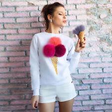 Women Ladies Girls Ice Cream Pompom Blouse Top Shirt Long Sleeve Summer Clothing