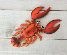 """OUTDOOR COLORFUL 7"""" METAL HAITIAN RED LOBSTER HANGING WALL ART TROPICAL DECOR"""