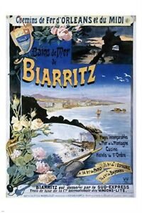 vintage TRAVEL POSTER biarritz france SCENIC COLORFUL unique lovely 24X36