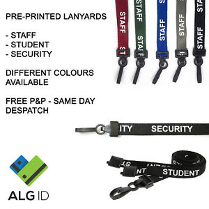 Pre-printed Lanyards Safety Breakaway for ID Card Pass Badge Holder - Free P&P