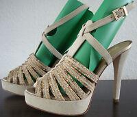 MISS SIXTY Sandalen Schuhe Damen High Heels Pumps Gr.39 Beige NEU mit ETIKETT