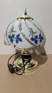 Vintage Tiffany Art Deco Style Touch Lamp Brass Tone Bedside Blue Iris Pattern