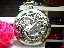 Antique Three head Drakonid orchid silver charm steampunk pocket watch necklace.