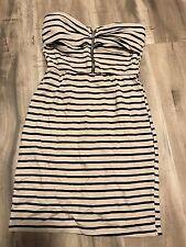 Nude Striped Bodycon Strapless Dress/ Zip Up Clubwear Cocktail Dress
