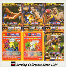 2005 AFL Teamcoach Trading Card How To Play Team set West Coast (9)