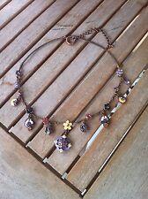 Collana in smalto colorato, girocollo con fiorellini multicolori laccati e brill