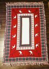 """VTG Christmas Ski Skiing Poinsettia Reversible Tapestry 70""""X48"""" Afghan Blanket"""