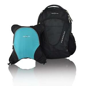 Obersee Oslo Diaper Bag Backpack with Detachable Cooler (Black/Turquoise)