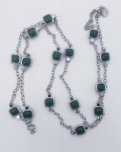 """TALBOTS Single Strand Green Squares 42"""" Long Necklace"""