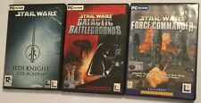 3 PC CD-ROM GAMES STAR WARS GALACTIC BATTLEGROUNDS + JEDI KNIGHT ACADEMY +FORCE