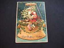 SANTA IN BALLOON CHRISTMAS WISHES EMBOSSED 1910 POSTCARD