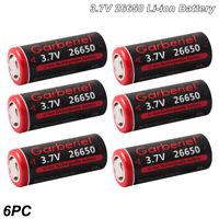 6PCS 3.7V 6800mAh 26650 Rechargeable Li-ion Battery For Led Torch Flashlight