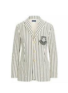 NWT Polo Ralph Lauren women's striped blazer with embroidered crest Sz 14 Cream
