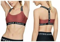 Under Armour Sport Bra Womens Top Fitness Wordmark Strappy Gym Crossback Pink