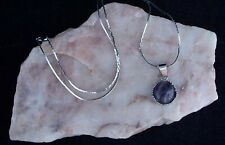 Amethyst 12mm Cabochon, 925 Silver Chain Necklace.Handmade In Gift Bag